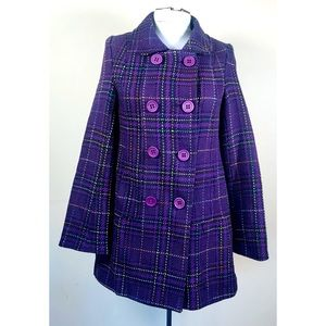 Jack for BB Dakota Purple Plaid Pea Coat